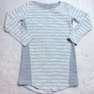 Thyme And Honey Striped Tunic Length Textured Top